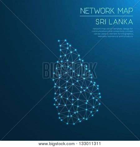 Sri Lanka Network Map. Abstract Polygonal Map Design. Internet Connections Vector Illustration.