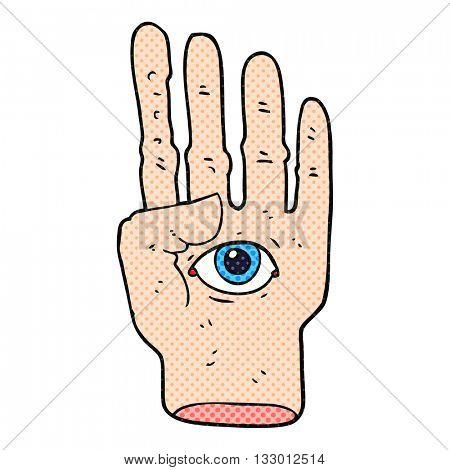 freehand drawn cartoon spooky hand with eyeball