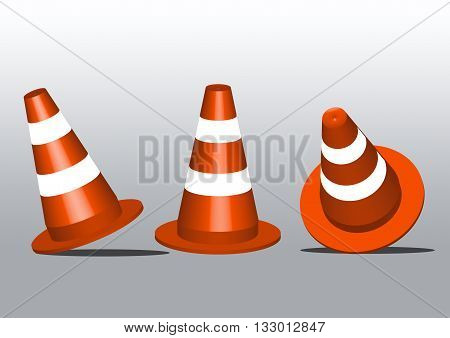 Safety Traffic Cones on granite pavement road