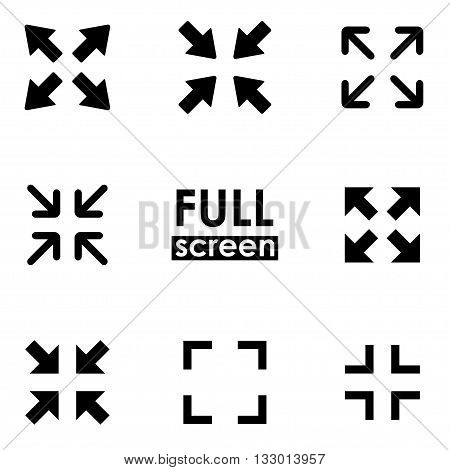 Vector black full screen icon set on white background. And exit full screen