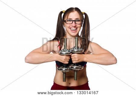 Funny woman with dumbbells isolated on white