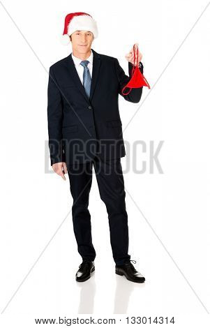 Santa businessman with female thongs on finger