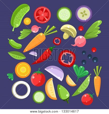 Vegetable Salad Ingredients Collection. Fresh Vegetables For Vegetarian Salad Illustration. Cooking Ingredients For Vegan Diet Set Of Flat Vector Drawings.