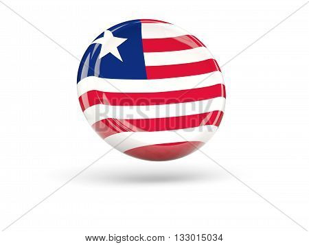 Flag Of Liberia. Round Icon