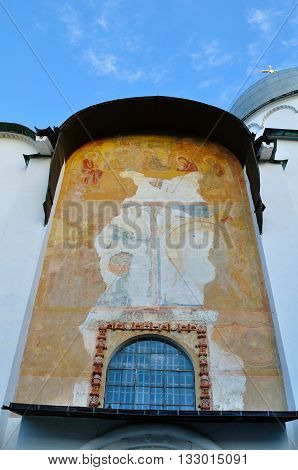 Frescoes on the walls of St. Sophia Cathedral in Veliky Novgorod Russia - closeup view