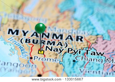 Nay Pyi Taw pinned on a map of Myanmar