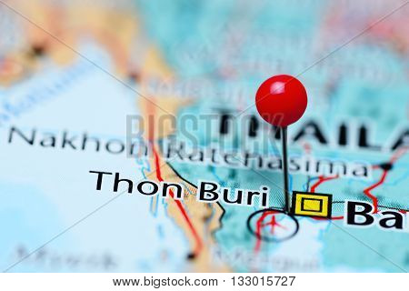 Thon Buri pinned on a map of Thailand