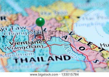 Vientiane pinned on a map of Laos