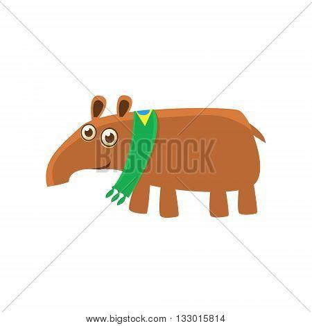 Tapir Wearing Brazilian Fan Scarf Illustration. Funny Childish Vector Tapir Drawing. Flat Isolated Cartoon Animal Icon.