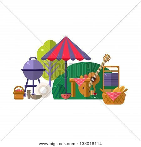 Barbeque In Park Items Collection. Picnic Outdoors Flat Vector Illustration. Weekend Picnic In Nature Bright Color Set Of Objects.