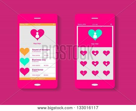Mobile interface pink color with heart icons