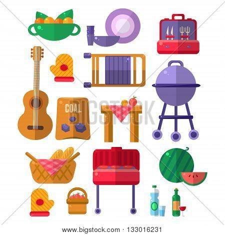 Things Needed For Barbeque Party. Picnic Outdoors Flat Vector Set Of Icons. Weekend Picnic In Nature Bright Color Set Isolated Objects.