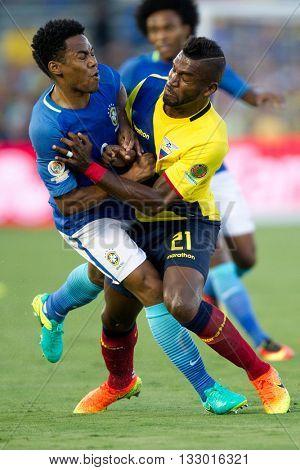 PASADENA, CA - JUNE 4: Gabriel Achiller & Elias (L) during the COPA America game between Brazil & Ecuador on June 4th 2016 at the Rose Bowl in Pasadena, Ca.