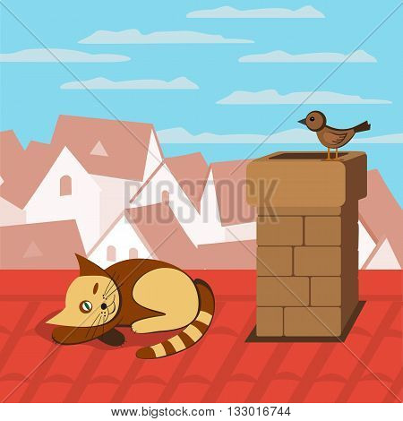 City rooftop. Cat on rooftop. Bird sitting on chimney. Sparrow and sleeping cat. Cityscape Concept. Town panoramic view. Building rooftops. Vector Illustration