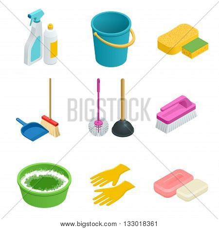 Vector set of cleaning tools. Home clean, sponge, broom, bucket, mop, cleaning brush. Graphic concept for web sites, web banner, mobile apps, infographics. Flat 3d vector isometric illustration