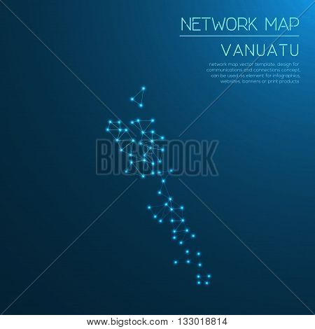 Vanuatu Network Map. Abstract Polygonal Map Design. Internet Connections Vector Illustration.