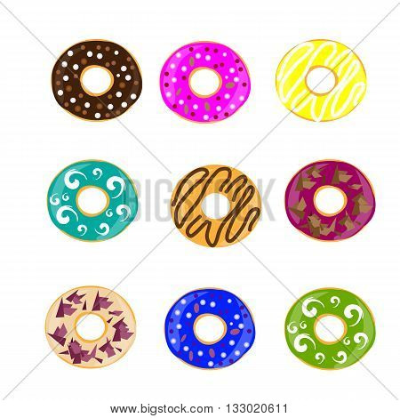 Collection of glazed colored donuts. Set of donuts. Vector illustration