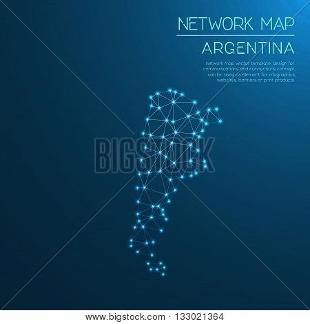 Argentina Network Map. Abstract Polygonal Map Design. Internet Connections Vector Illustration.