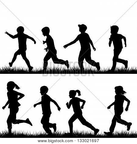 Set of children silhouettes running in park