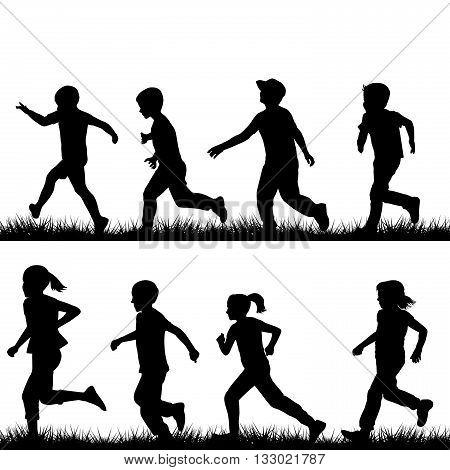 Set of children black silhouettes running on white