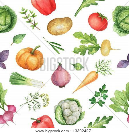 Seamless pattern with watercolor vegetables. Hand drawn food texture with radishes, peppers, potatoes, cabbage, turnips, onions, carrots, tomato, cucumber, cilantro, Basil, arugula, parsley.