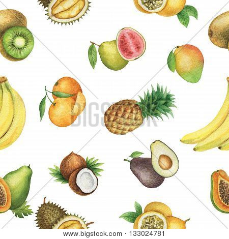 Seamless pattern with watercolor fruit on white background. Hand drawn food texture with banana, coconut, pineapple, mandarin, avocado, mango, passion fruit, papaya.