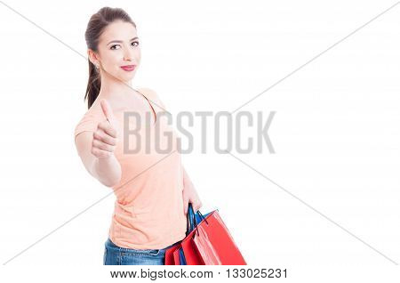 Attractive And Satisfied Young Shopping Woman Showing Like Gesture