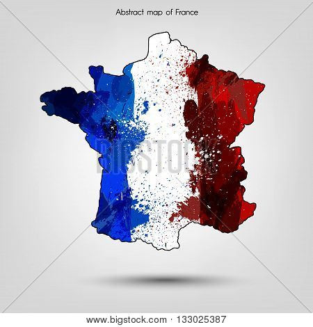 Abstract map of France. France map in grunge style Vector illustration.