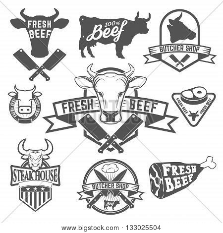 Fresh beef labels. Butchery store labels. Cow heads icons and butcher tools. Design elements for labels badges emblems signs. Vector illustration.