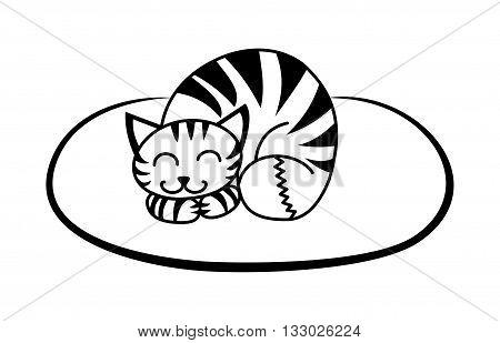 simple black pattern cute cat on the mat