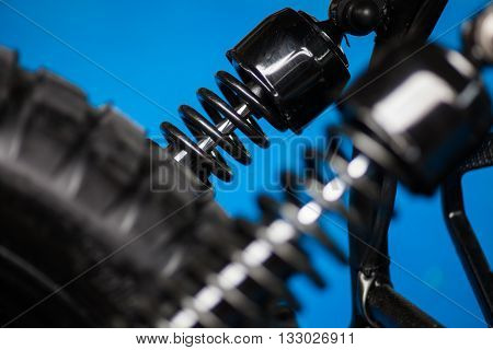 Color shot of a motorcycle shock absorber.
