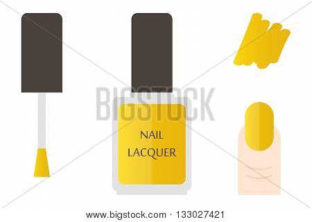 Golden nail lacquer bottle and swatches, details. Vector flat design illustration.