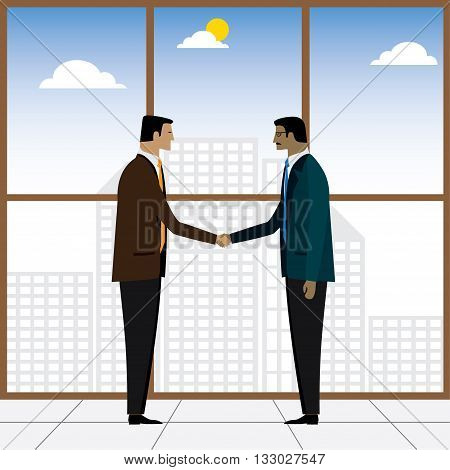 Two Businessmen Or Executives Handshake For Partnership - Vector Graphic
