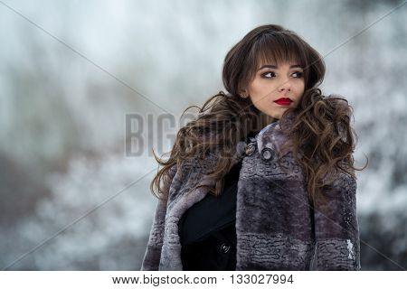 Beautiful, attractive, adorable, rich, nice, lovely girl in a luxury, rich mouton, mink fur coat standing in cold, snow, winter forest with good make-up, curly hair, pretty eyes, red lips, looks aside, stylish fur.