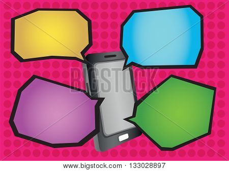 Realistic vector illustration of mobile phone and colorful cartoon speech balloons with black outline isolated on red polka dot texture background.