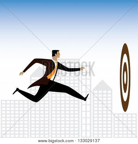 Businessman Or Executive Trying To Achieve Targets - Vector Graphic