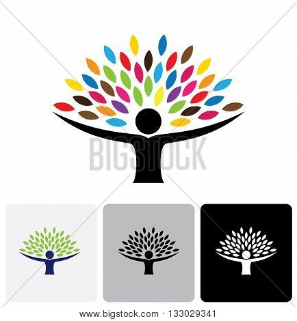 Human Life Logo Icon Of Abstract People Tree Vector