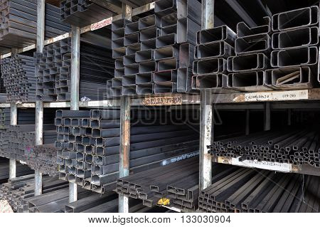 Racks of construction steel pipes in rectangle shape various sizes thickness and weight