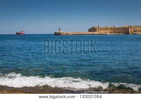 Ricasoli East Breakwater in Valletta on the Malta island