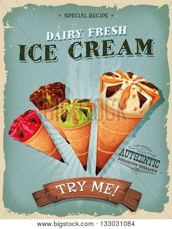 Illustration of a design vintage and grunge textured poster with assortment of ice-cream inside wafel cones for sweets and desserts meals in fast food and takeout menu