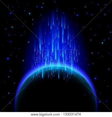 Space background. Dark planet with blue radiance and star shower