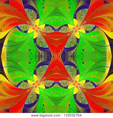 Beautiful symmetrical pattern in stained-glass window style. Green red yellow palette. Artwork for creative design art and entertainment.