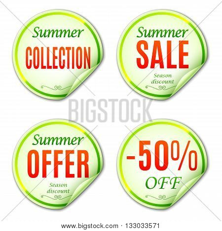 Summer sale stickers or labels on white background