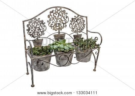 High Front View Of Vintage  Rusted Wrought  Iron Bench