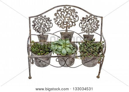 Vintage  Rusted Wrought  Iron Bench Fitted With Plant Pots