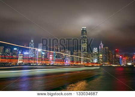 Night view of Hong Kong Island from Kowloon.