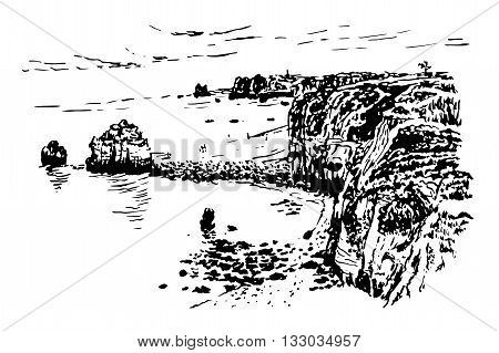 background landscape view of the golden coast caves and coastal islands in Lagos, ink sketch graphics vector illustration
