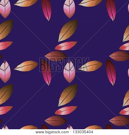 Seamless pattern with colorful autumn leaves. Vector illustration. Foliage