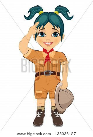 Young happy boy scout girl doing a hand sign and holding Safari hat isolated on white background