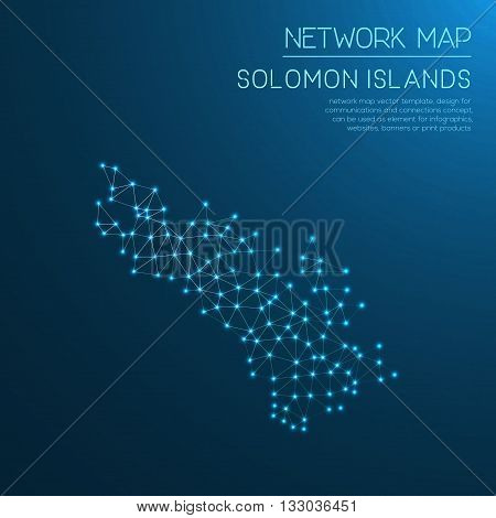 Solomon Islands Network Map. Abstract Polygonal Map Design. Internet Connections Vector Illustration